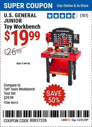 Kids can set up and play with this toy workbench that has realistic drill press action