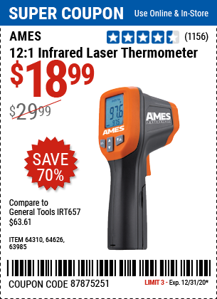 12:1 Infrared Laser Thermometer