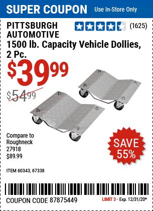 1500 Lb. Capacity Vehicle Dollies 2 Pc