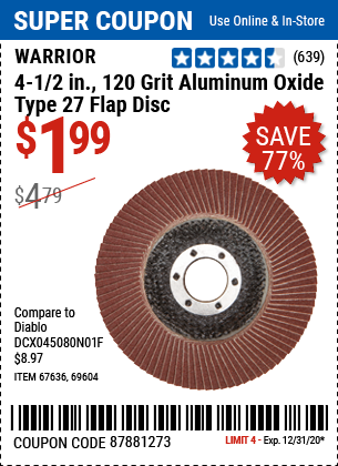 4-1/2 In. 120 Grit Aluminum Oxide Type 27 Flap Disc