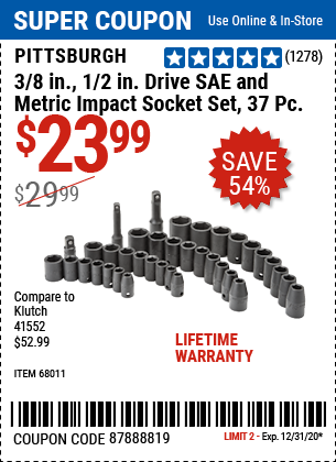 3/8 In., 1/2 In. Drive SAE & Metric Impact Socket Set, 37 Pc