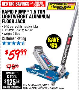 1 5 Ton Aluminum Racing Floor Jack With Rapid Pump Harbor Freight