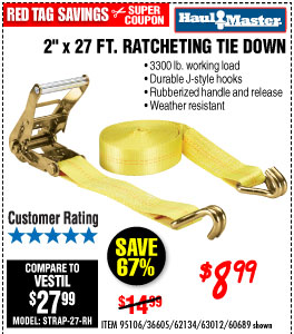 3300 lbs. Capacity 2 in. x 27 ft. Heavy Duty Ratcheting Tie Down  Pc