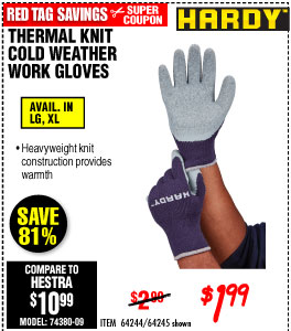 Thermal Knit Cold Weather Work Gloves, X-Large