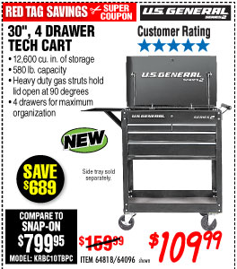 Harbor Freight 30 In 4 Drawer Black Tech Cart