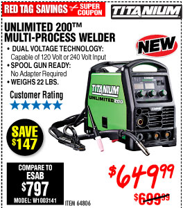 Unlimited 200™ Multiprocess Welder with 120/240 Volt Input
