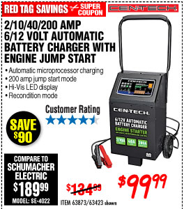 2/10/40/200 Amp 6/12V Automatic Battery Charger with Engine Jump Start