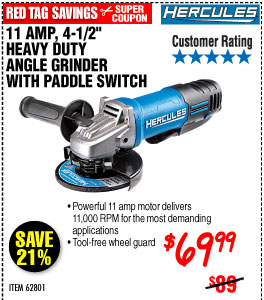 4-1/2 in. 11 Amp Heavy Duty Angle Grinder with Paddle Switch