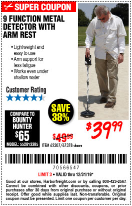 9 Function Metal Detector with Arm Rest