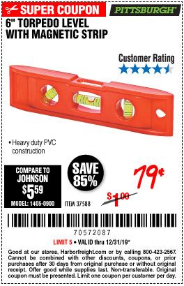 6 In. Torpedo Level with Magnetic Strip