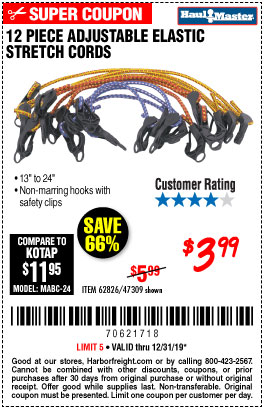 Adjustable Elastic Stretch Cords, 12 Pc.
