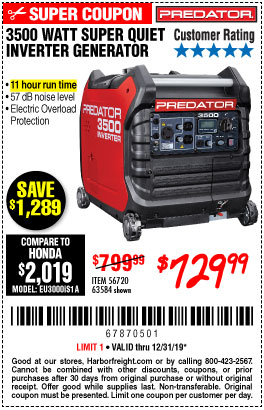 3500 Watt Super Quiet Inverter Generator