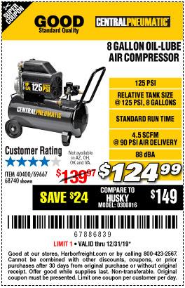 8 gallon 2 HP 125 PSI Oil Lube Air Compressor