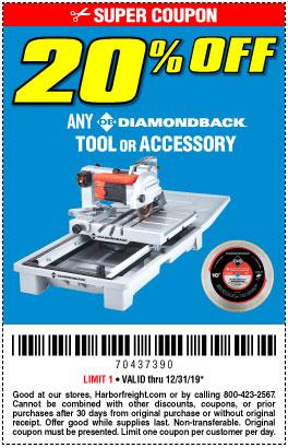 20% off Any Diamondback Tool or Accy