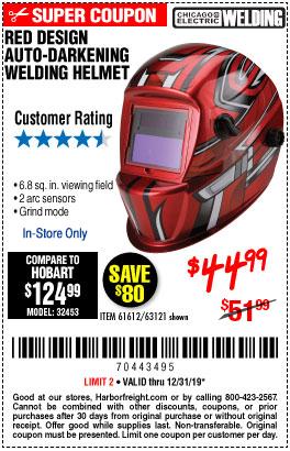 Red Design Auto Darkening Welding Helmet
