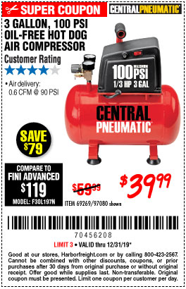 Oil Free Air Compressor >> Savings Coupons at Harbor Freight Tools