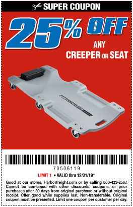 25% off Any Creeper or Seat