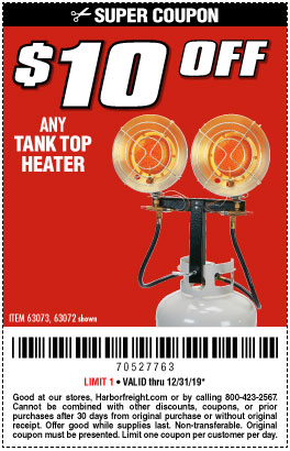 $10 off Any Tank top Heater