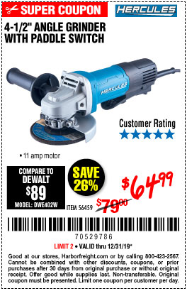 Corded 4-1/2 in. 11 Amp Professional Paddle Switch Angle Grinder