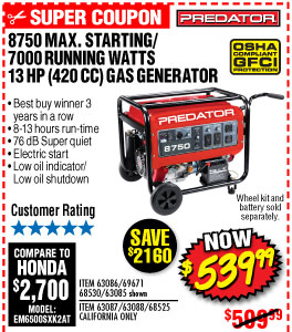 8750 Max Starting/7000 Running Watts, 13 HP  (420cc) Generator EPA III with GFCI Outlet Protection