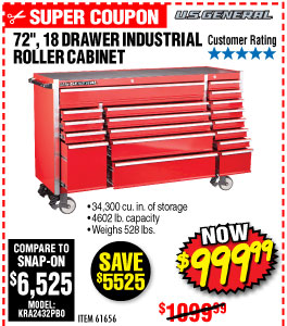 72 in. 18 Drawer Glossy Red Industrial Roller Cabinet