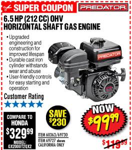 6.5 HP (212cc) OHV Horizontal Shaft Gas Engine EPA/CARB