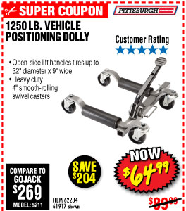 1250 lb. Capacity Vehicle Positioning Wheel Dolly