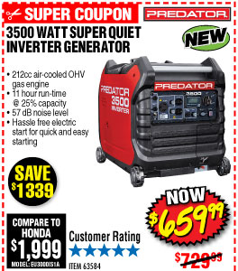 Discount coupons for 3500 watt predator generator