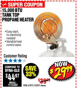 15,000 BTU Tank Top Propane Heater