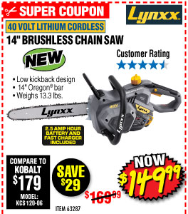 40V Lithium 14 in. Cordless Chain Saw