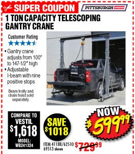 1 ton Capacity Telescoping Gantry Crane