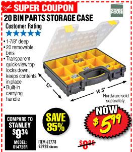 20 Bin Medium Portable Parts Storage Case