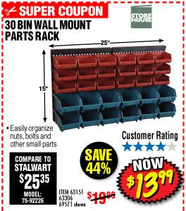 30 BIN WALL MOUNT PARTS RACK