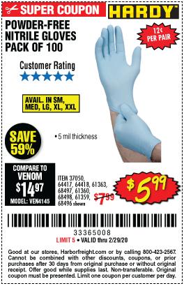 5 mil Nitrile Powder-Free Gloves, 100 Pc.