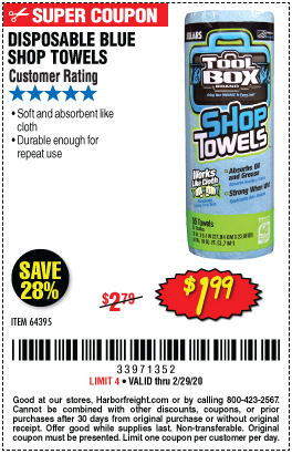 Disposable Blue Shop Towelsk