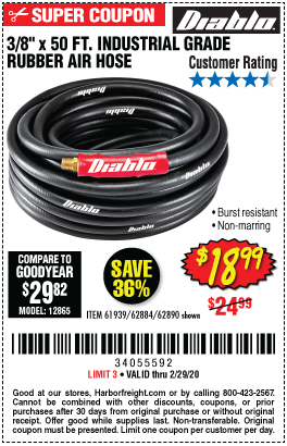 3/8 in. x 50 ft. Rubber Air Hose