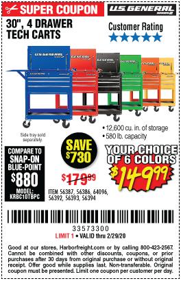 30 in. 4 Drawer Tech Cart