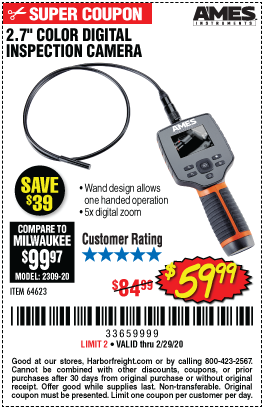 2.7 in. Color Compact Digital Inspection Camera