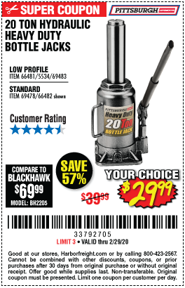 20 Ton Hydraulic Low Profile Heavy Duty Bottle Jack