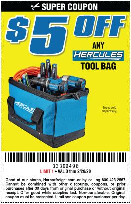 $5 off Any Hercules Tool Bag