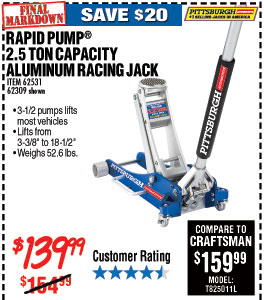 2.5 Ton Aluminum Racing Floor Jack with Rapid Pump