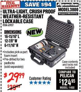 3800 Watertight Protective Case, 16-5/16 In.