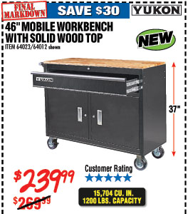 46 in. Mobile Workbench with Solid Wood Top