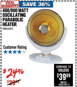 400/900 Watt Oscillating Parabolic Heater