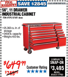 56 in., 11 Drawer Glossy Red Industrial Roller Cabinet