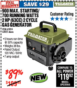 900 Max Starting/700 Running Watts, 2 HP  (63cc) 2 Cycle Gas Generato