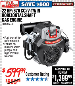 22 HP (670cc) V-Twin Horizontal Shaft Gas Engine