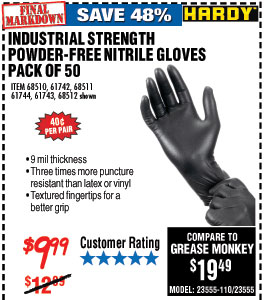 9 mil Nitrile Powder-Free Gloves 50 Pc