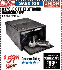 0.17 Cu. Ft. Electronic Handgun Safe