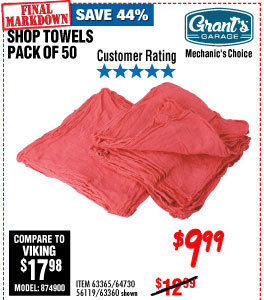 Mechanic's Shop Towels 14x13 50 Pk.